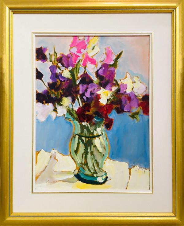 0507 - Sweet Peas in a Green Vase