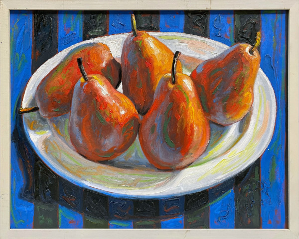 0889 - Red Pears on Blue Stripes
