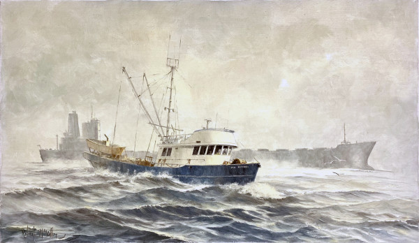 0951 - Untitled( Cargo Ships in the Fog) by Robert McVittie (1935 - 2002)