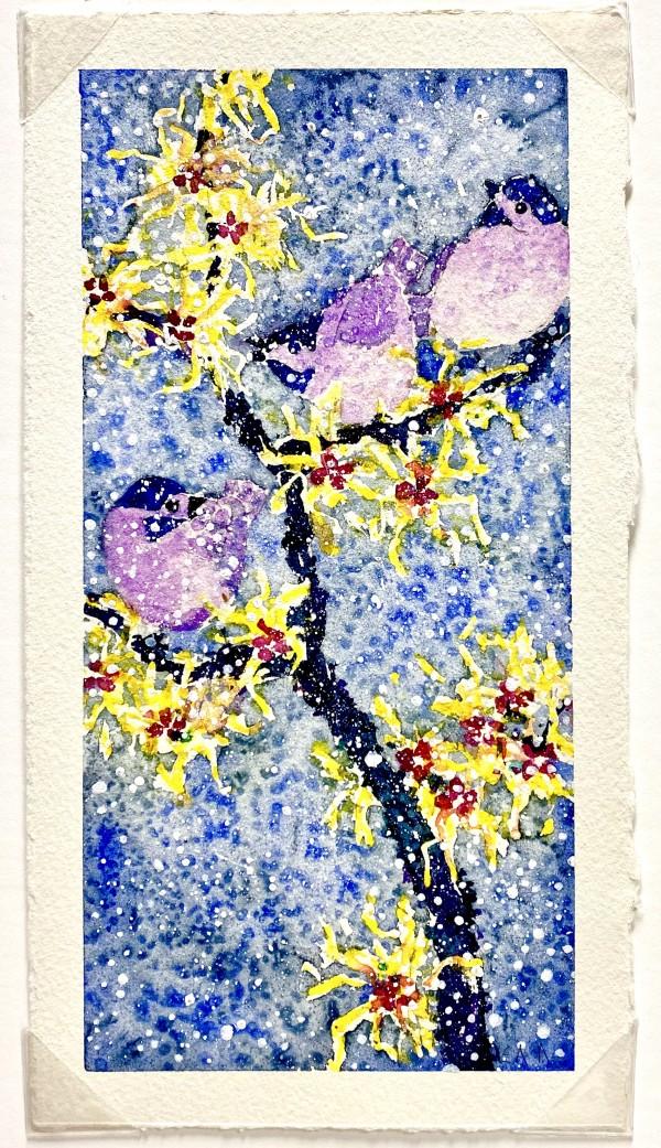 2899 - Winter Birds, 3 Chickadees in Witch Hazel by Ann Nelson