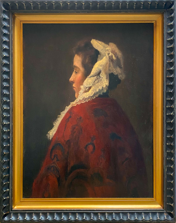 1970 - Lady with a Red Shawl by English School 19th Century