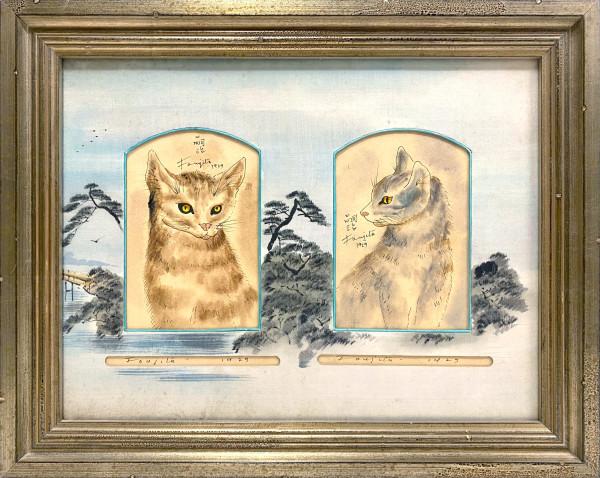 2209 - Portrait of Two Cats ( Diptych) by Tsuguharu FOUJITA (1886 - 1968)
