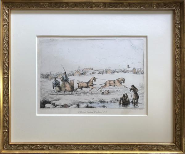2245 - A Sleigh Leaving Windsor, New Brunswick by Robert Petley ( 1812 - 1869)