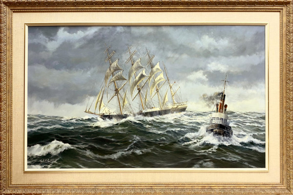 2674 - Tall Ship in Stormy Sea by Robert McVittie (1935 - 2002)