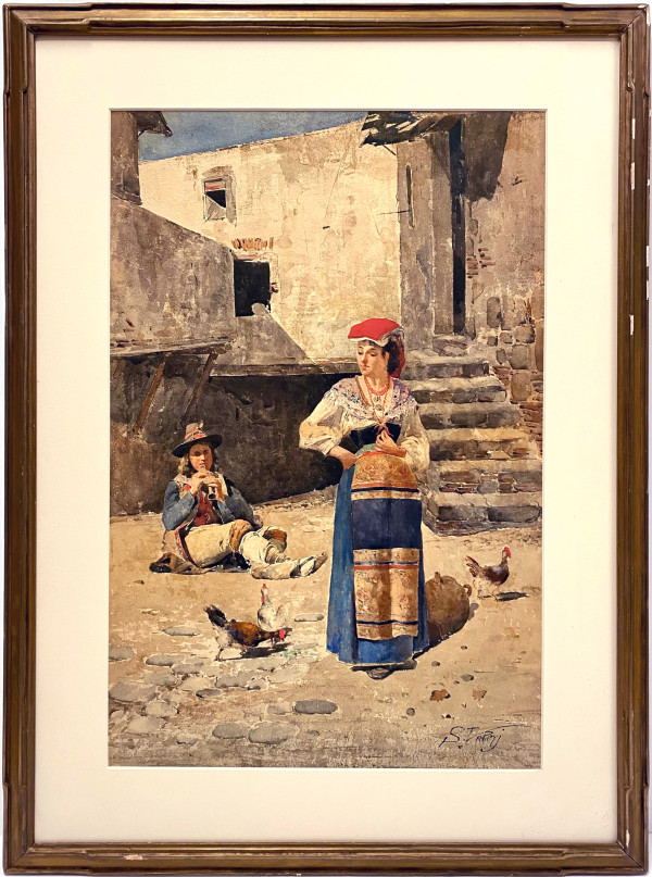2698 - Village Woman on a Promenade by Unknown