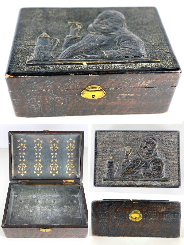 5158 - Carved Wooden Cigar Humidor