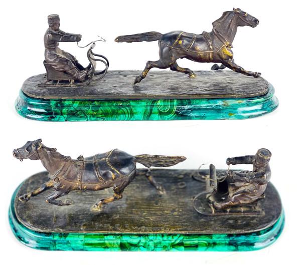 5168 - Bronze & Malachite Russian with horse sculpture