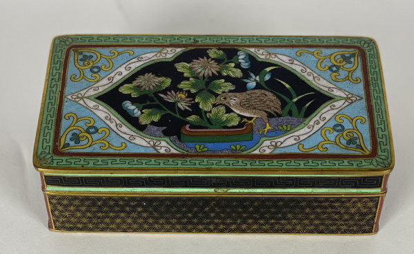 5103 - Antique Enamel Metal Trinket Box