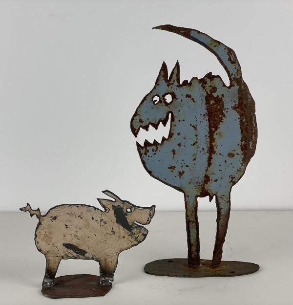 5155 - Pig and Cat metal sculpture