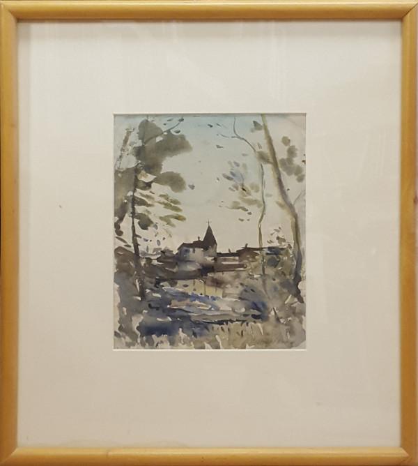 2402 - The Church on the Hill,  Evening by Llewellyn Petley-Jones (1908-1986)