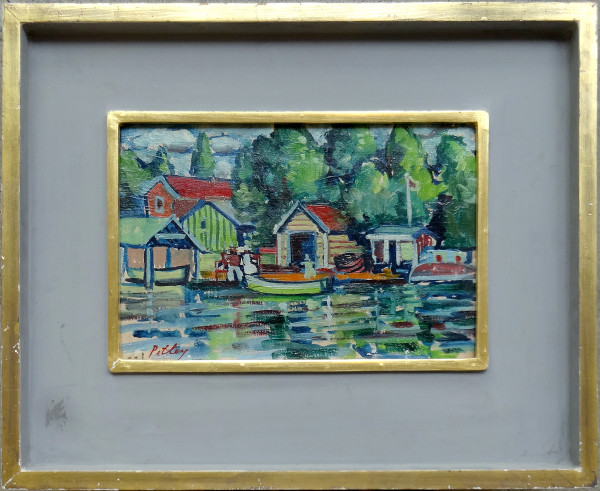 0217 - Cottages on the Lake by Llewellyn Petley-Jones (1908-1986)