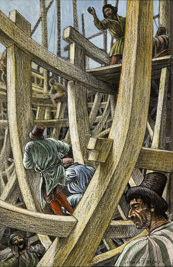 2484 - On the Beaches Improvised Shipyards Were Spreading by Lima De Freitas (1927-1998)