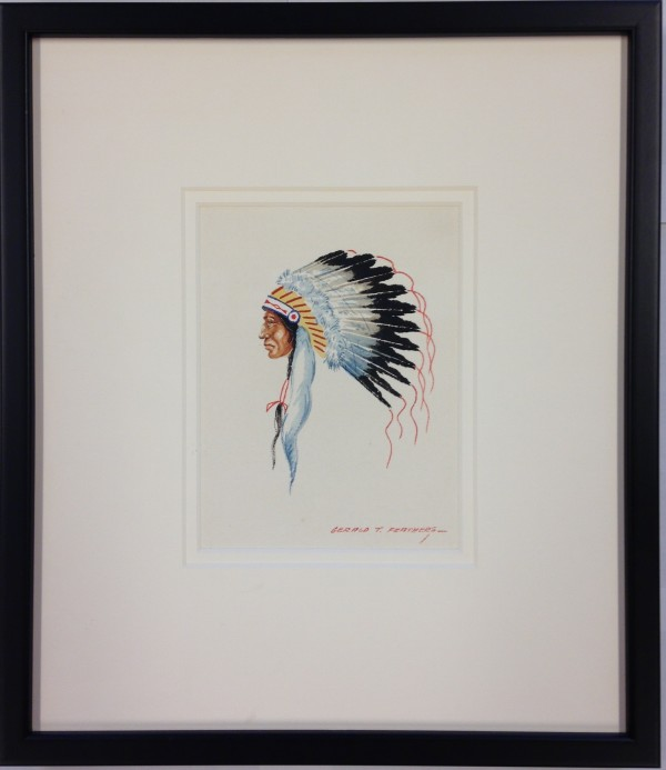 2634 - Portrait of a Chief by Gerald T.  Feathers (1925 - 1975)