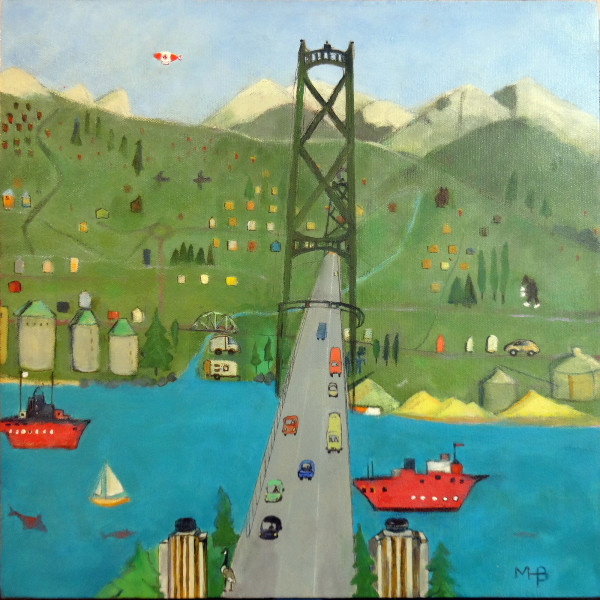 0615 - Going Over the Lions Gate Bridge by Marie H Becker