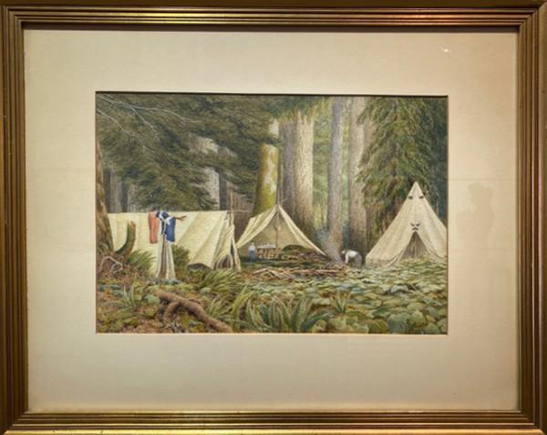 3065 - Untitled - Campsite by Ernest John HUTCHINS ( c. 1880 - 1935 )