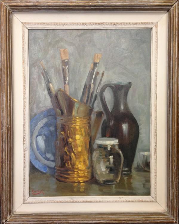 2688 - Paintbrushes And Vase