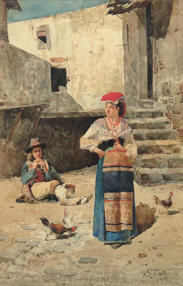 2698 - Village Woman on a Promenade by Unknown