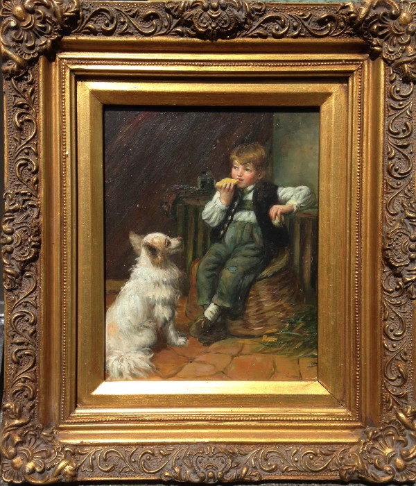 1022 - Boy With Dog by Unknown