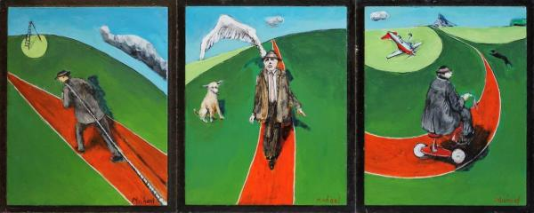1243 - Modern Problems (Triptych) by Michael Hermesh