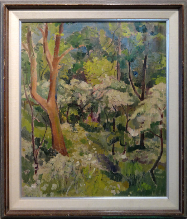 0239 - Petersham Woods in Spring,  May tree in bloom by Llewellyn Petley-Jones (1908-1986)