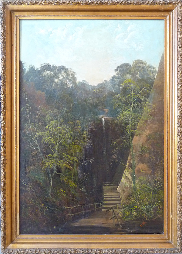 0116 - Landscape with waterfall/steps by SS Allan