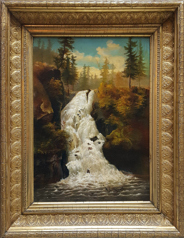 0157 - Waterfall by Hudson River School Unknown