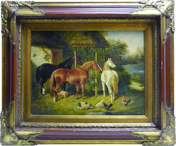 0039 - Farm Scene, Horses by Unknown