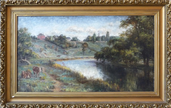 0067 -  19th Century piece, red house with cows by E Lawson