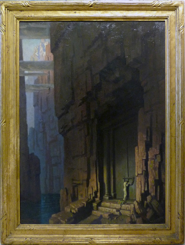 0082 - Lady at Stone Door by Norwood Hodge MacGilvary (1874-1949)