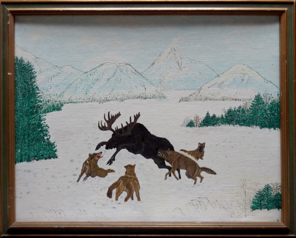 0090 - moose and wolves by George N Kachuk