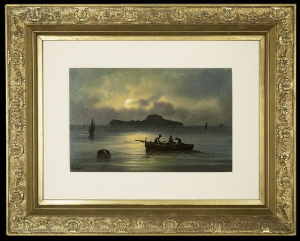 2140 - Boats at Night by Francesco Coppola Castaldo (1845-1916)