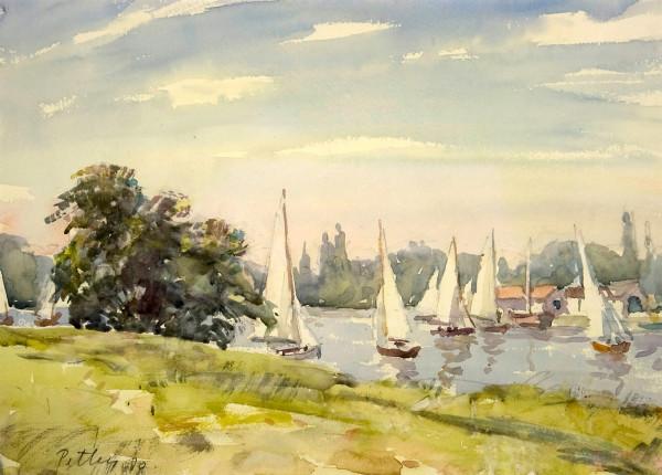 2418 - Regatta on the Thames, at Kingston by Llewellyn Petley-Jones (1908-1986)