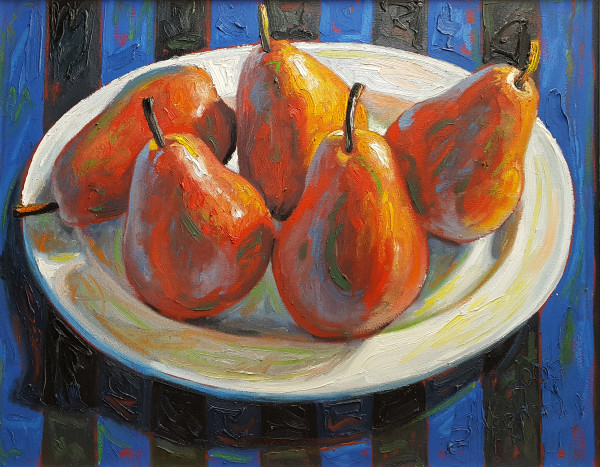 0889 - Red Pears on Blue Stripes by Shawn Shepherd