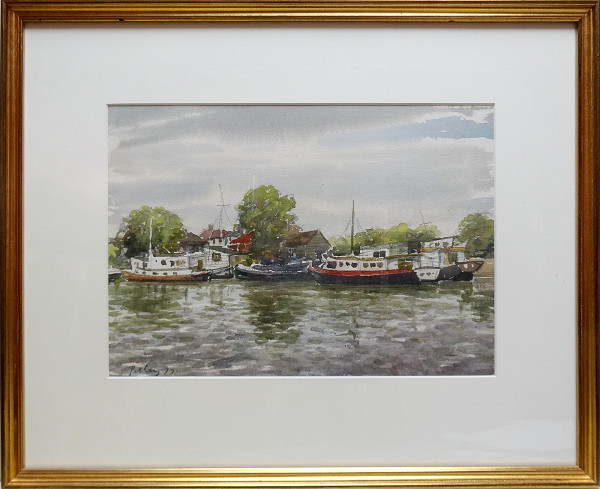 2391 - Untitled, docked boats by Llewellyn Petley-Jones (1908-1986)