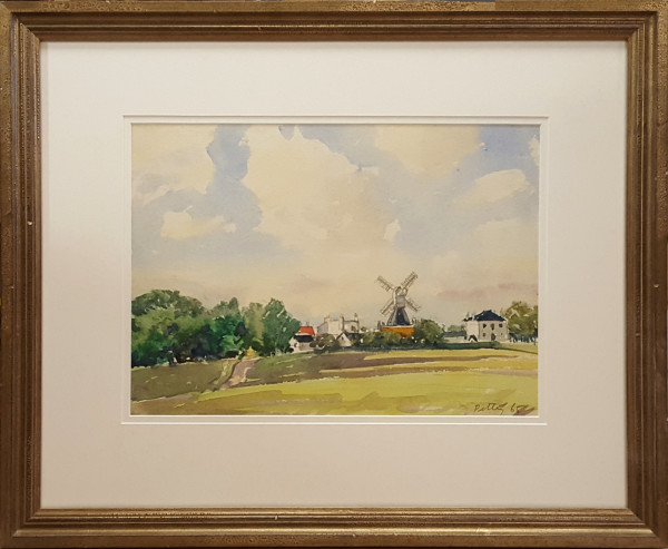 3079 - Untitled Town and Windmill by Llewellyn Petley-Jones (1908-1986)