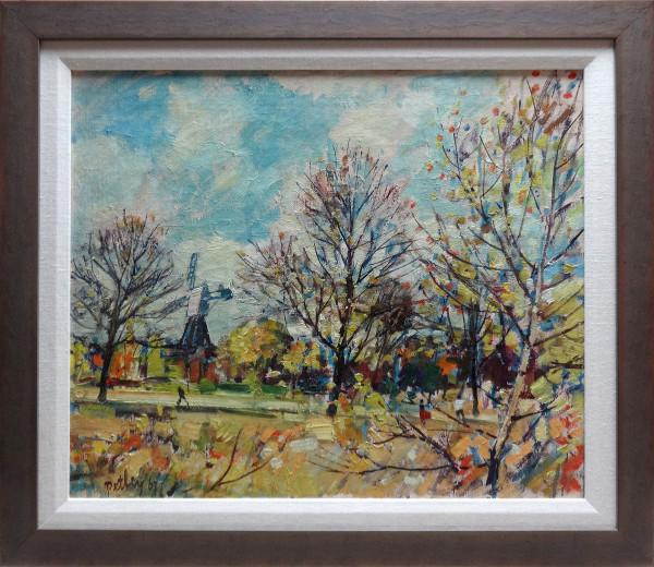 0285 - Windmill at Wimbledon, Autumn by Llewellyn Petley-Jones (1908-1986)