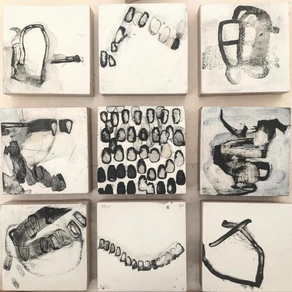 """Untitled grouping of 3""""x 3""""panels by Laura Viola Preciado"""