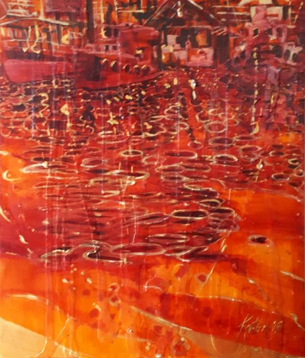 a) Granville Island Rain by Kathleen Katon Tonnesen