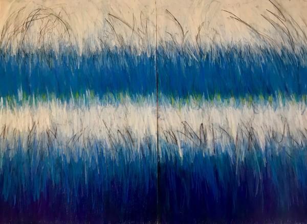 Cool Blue Strata - Double / duplex Framed As One Artwork Under Glass by Carolyn Kramer