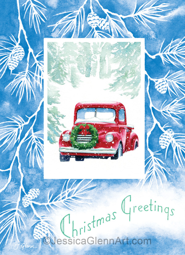 Vintage Red Truck Christmas Card by Jessica Glenn