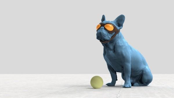 Blue Dog Yellow Ball by Richard Becker