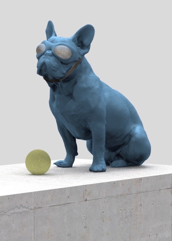 . Blue Dog with Yellow Ball by Richard Becker