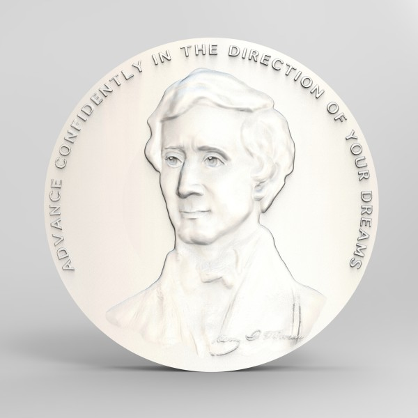 """Young Thoreau """"advance"""" medallion wip by Richard Becker"""