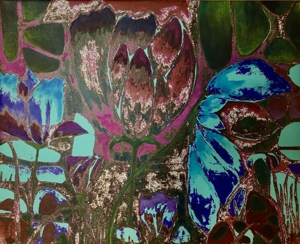 Plum Blooms by Debra Sutherland Core  Fine Art