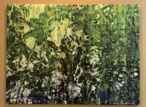 Green Leaves on Blue by Debra Sutherland Core  Fine Art