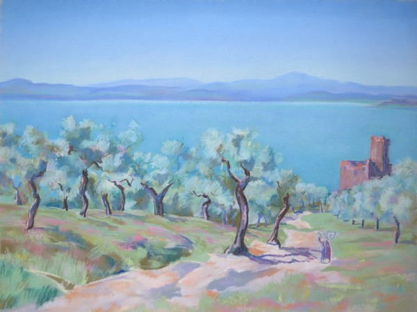 Lac Trasimène, les oliviers by LECOULTRE John-Francis (1905-1990)