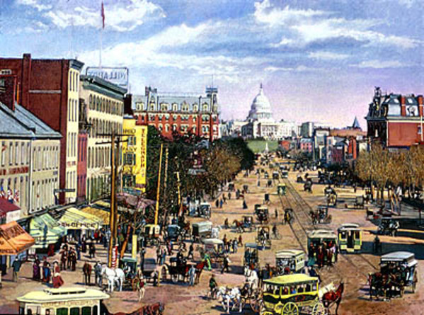 Pennsylvania Avenue on a Busy Day in 1882 by Frank Wright