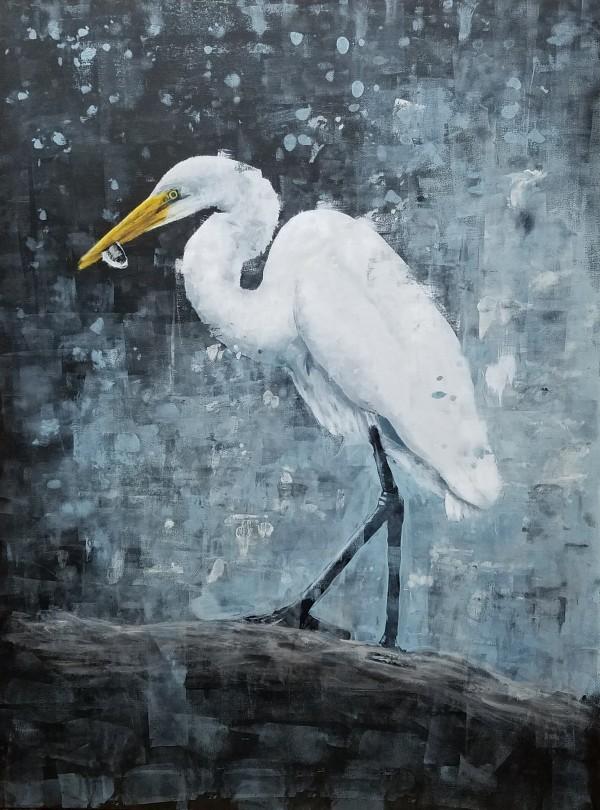 Egret in Blue by Lucas Menard