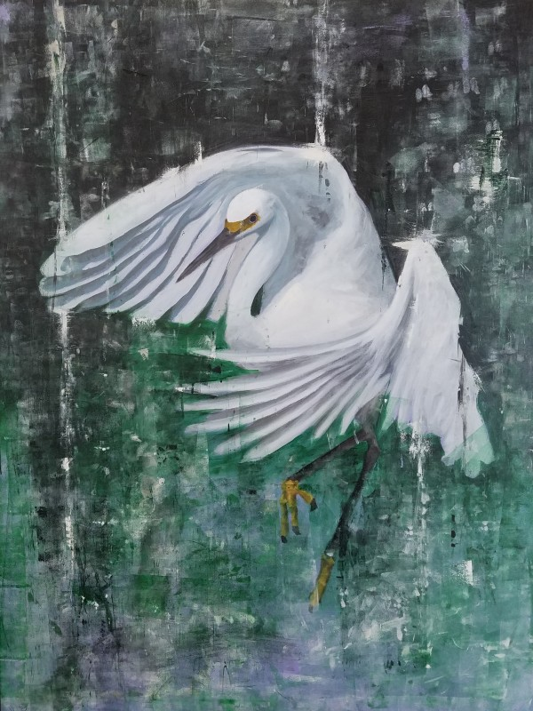 Egret in Green by Lucas Menard