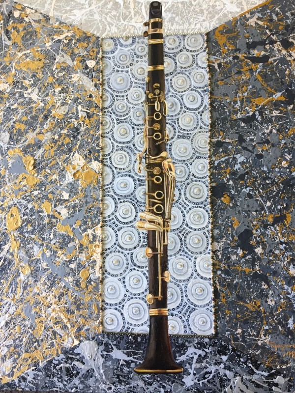 Clarinet in  a Mellow Joy Splattered Box by Tony Mayard